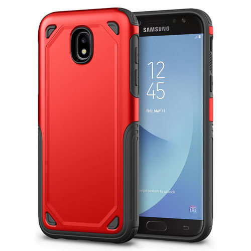 Hybrid Guard Shockproof Plate Case for Samsung Galaxy J7 Pro (Red)